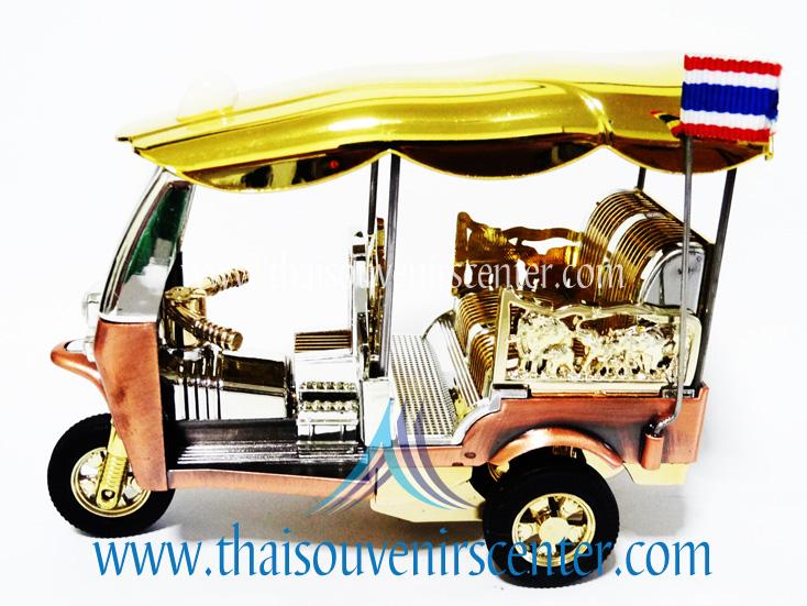 รถตุ๊กตุ๊กจำลอง Big Size ของพรีเมี่ยม Size XL แบบ 11 สีทอง มีธงชาติไทย