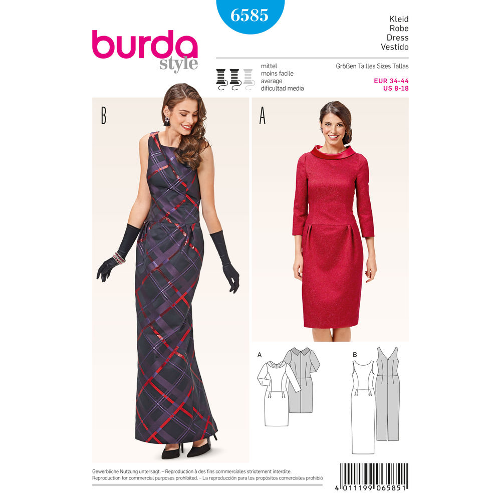 แพทเทิร์นตัดเดรสสั้น ยาว คอปาดมีปก เก๋ๆ ยี่ห้อ Burda Style (6585) ไซส์: 8-10-12-14-16-18