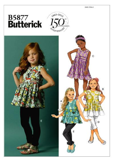 แพทเทิร์นตัดเสื้อ กางเกง เด็กหญิง Butterick 5877CL Size: 6-7-8