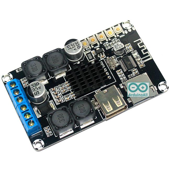 บอร์ดเล่นเพลง MP3 Bluetooth/SD Card/FlashDrive แบบสเตอริโอ พร้อมวงจรขยายเสียง 2x50W