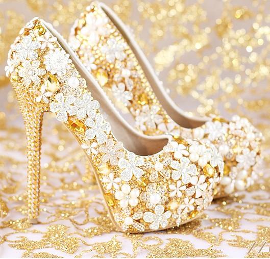 รองเท้าเจ้าสาวสีทองงานสั่งทำ ไซต์ 34-39