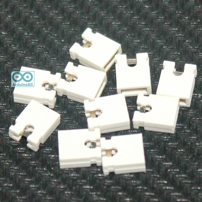 จัมเปอร์ สีขาว Mini Jumper 2 Pins Female Pitch 2.54mm จำนวน 10 ชิ้น