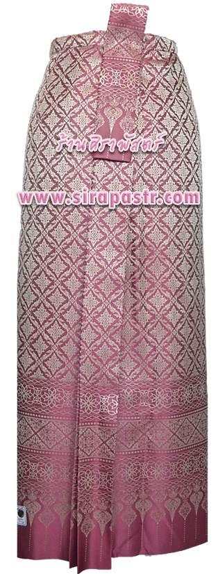 """ผ้าถุงป้าย-หน้านาง N2-1 สีชมพูกลีบบัว (เอวใส่ได้ถึง 28"""") *แบบสำเร็จรูป-รายละเอียดตามหน้าสินค้า"""