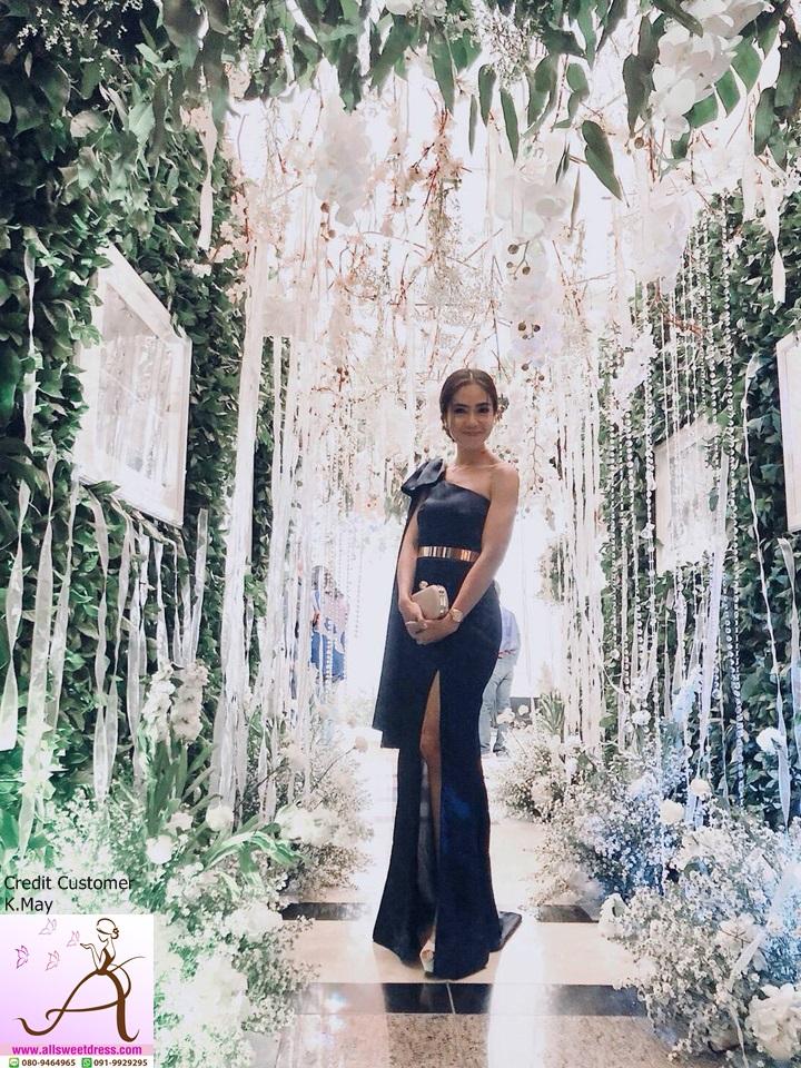 รีวิวชุดผ้าซาตินงานสั่งตัดเช่าแบบยาวไหล่เฉียงมีสไบสวยงามในโทนสี navyblue ของร้าน allsweetdress ฝั่งธนจากน้องเมย์ค่ะ