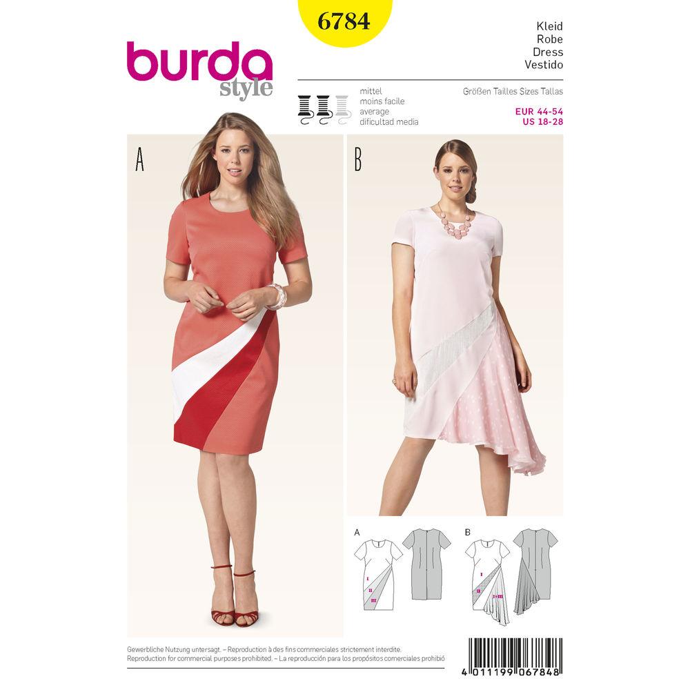 แพทเทิร์นตัดเดรสสตรี พลัสไซส์ ไซส์ 18-28 ยี่ห้อ Burda Style (6784) อก 39.5 - 50.5 นิ้ว