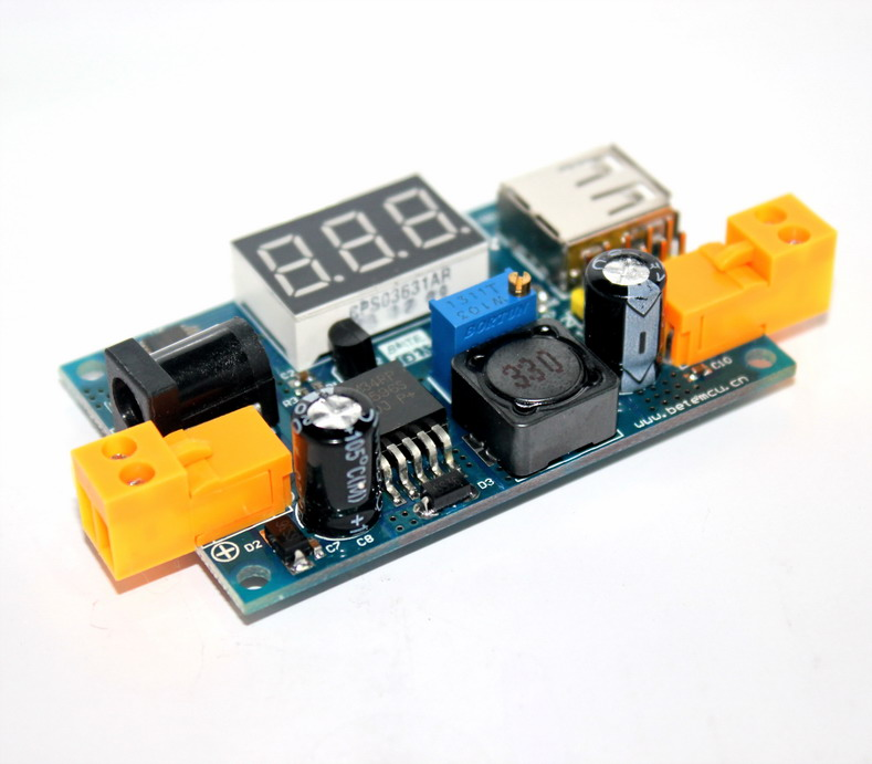 LM2596 DC 4.5-40 to 1.25-37V Step-Down Power Module LM2596 Step down Buck Converter พร้อมไฟ Volt mater และพอร์ท USB