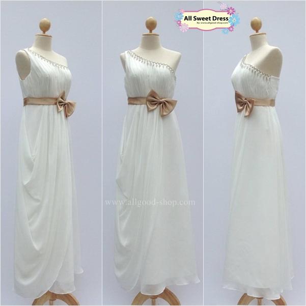 เช่าชุดราตรีเดรสยาวสีขาวสวยหรู คลาสสิคสไตล์ ใส่ไปงานแต่งงาน งานพรอม ออกงานกลางคืนแบบสวยเนี๊ยบ