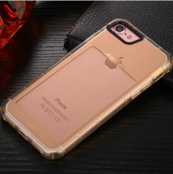 เคสไอโฟน 7 (เคสยางนิ่ม + ที่สอดนามบัตร + เรืองแสงได้ +กันกระแทกเครื่อง) แบบทองใส