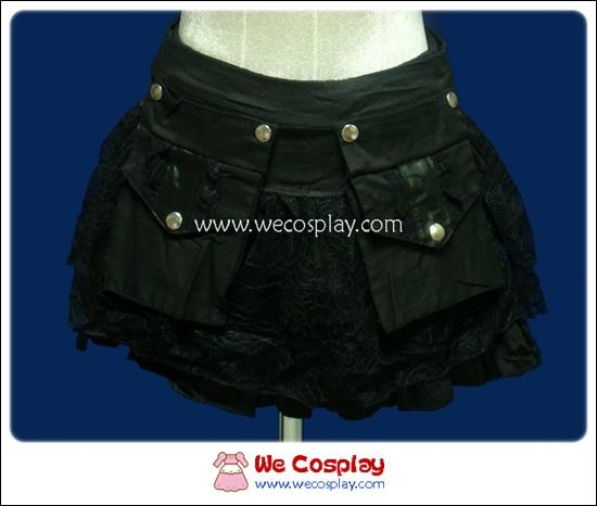 กระโปรงพังค์ Punk Skirt ลายสก๊อตสีดำล้วน มีกระเป๋าติดด้านหน้า (ถอดออกได้)