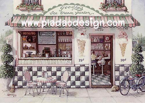 กระดาษสาพิมพ์ลาย rice paper สำหรับทำงาน handmade เดคูพาจ Decoupage แนวภาพ ร้านขายไอศรีมสวยหวาน หน้าร้านมีเก้าอี้นั่งชมวิว สไตล์ยุโรปเค้าล่ะจร้า (pladao design)