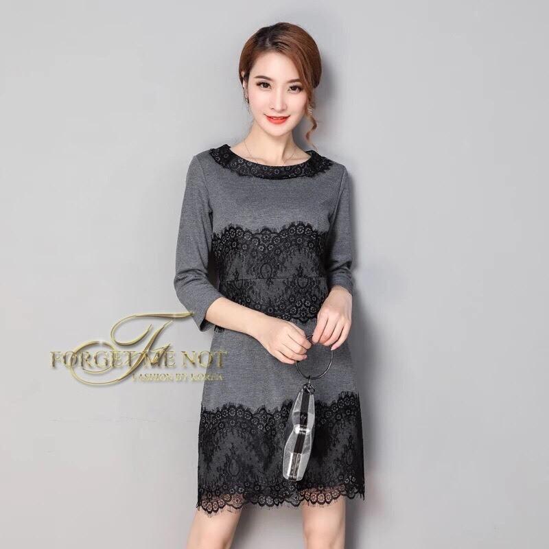 ชุดเดรสเกาหลี พร้อมส่ง Dress คอกลม แขนยาว