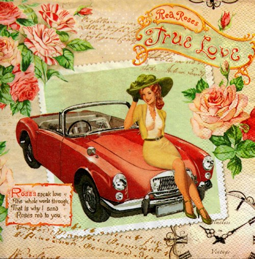 แนวภาพย้อนยุค สาวน้อยนั่งบนรถเปิดประทุน แต่งลายด้วยดอกไม้ เป็นภาพ แนวยาว กระดาษแนพกิ้นสำหรับทำงาน เดคูพาจ Decoupage Paper Napkins ขนาด 33X33cm