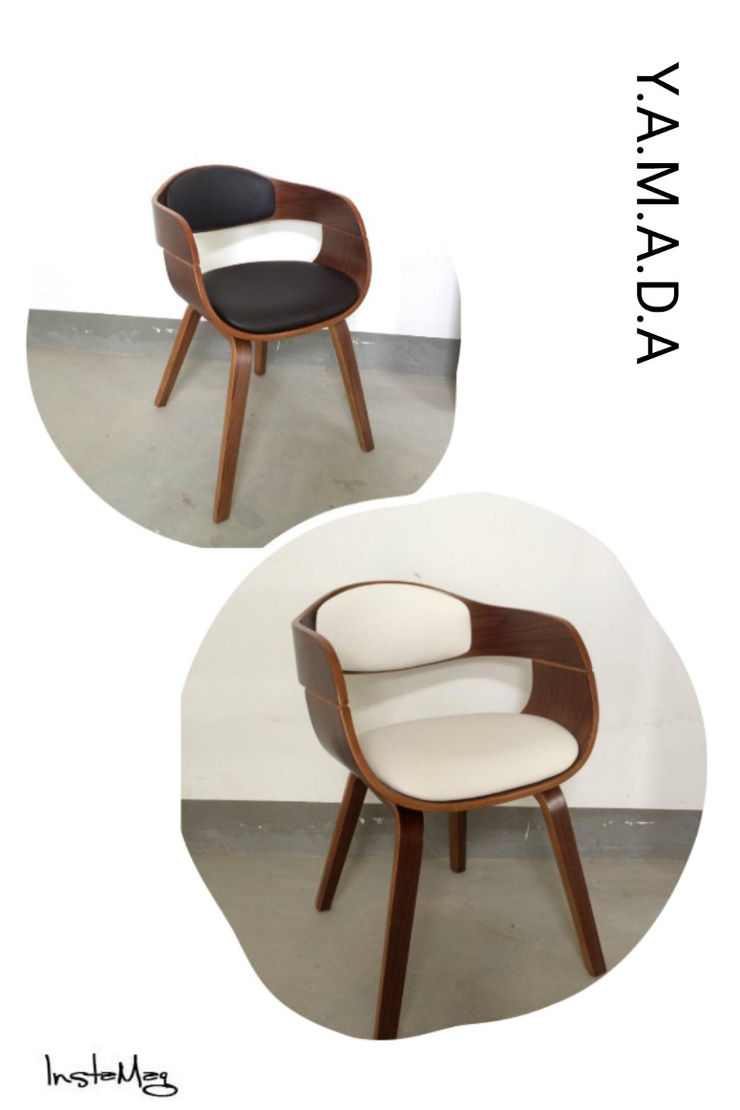 เก้าอี้ดีไซน์สวย หุ้มด้วยหนังสีดำ-ขาว สำหรับร้านอาหาร ร้านกาแฟ (YAMADA)
