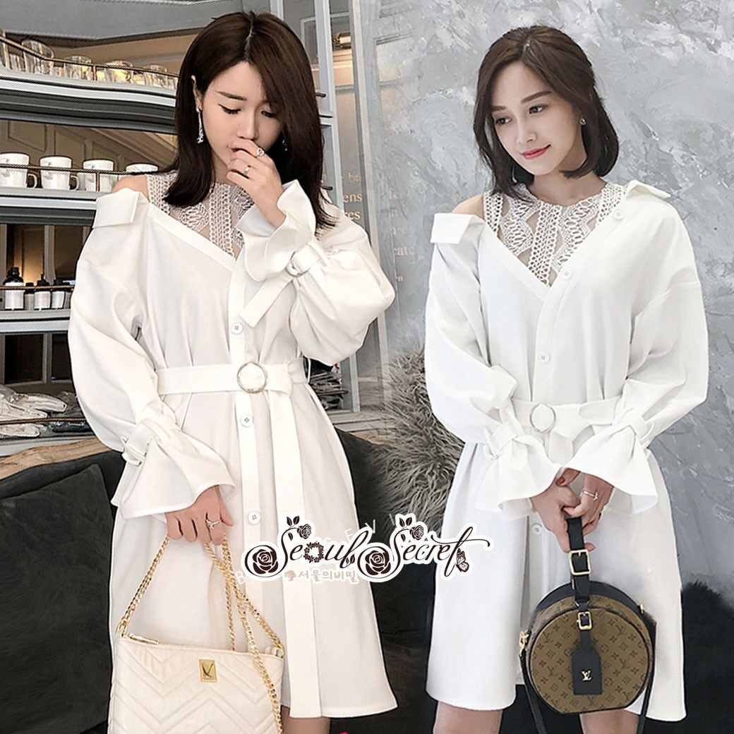 เสื้อเกาหลี พร้อมส่ง เสื้อเชิ๊ท เนื้อผ้าคอตตอนสีขาว