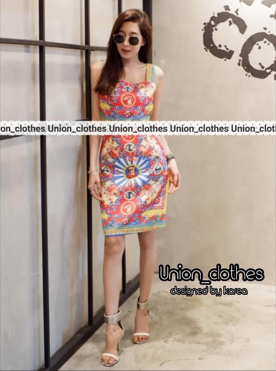 เดรสเกาหลี พร้อมส่ง Mini Dress สายเดี่ยวเส้นใหญ่