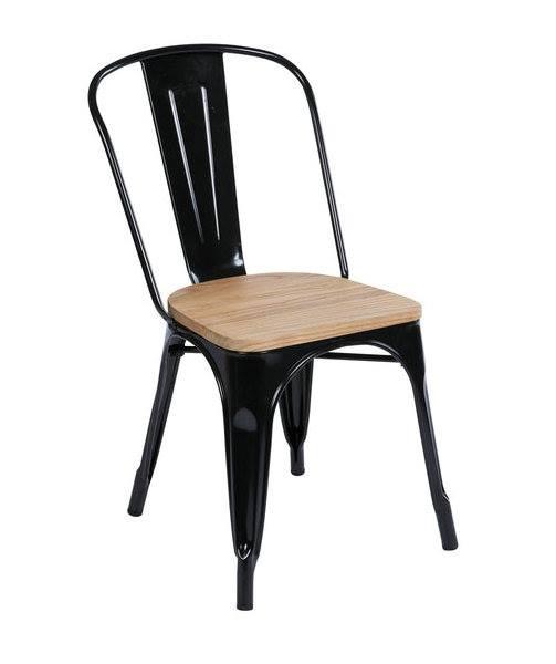 เก้าอี้เหล็กสีดำ พื้นนั่งไม้ มีดีไซน์ สำหรับร้านอาหาร ร้านกาแฟ (MTW-COLLECTION)