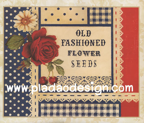 กระดาษสาพิมพ์ลาย สำหรับทำงาน เดคูพาจ Decoupage แนวภาำพ old fashioned flower seed กุหลาบแดงแจ้งรัก สไตล์วินเทจ (ปลาดาวดีไซน์)