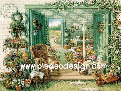 กระดาษสาพิมพ์ลาย rice paper สำหรับทำงาน handmade เดคูพาจ Decoupage แนวภาพ บ้านและสวน green of paradise เก้าอี้หวาย ในห้องเพาะชำดอกไม้สวยสด pladao design