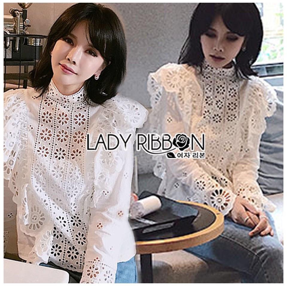 เสื้อเกาหลี พร้อมส่ง เสื้อผ้าคอตตอนสีขาวทรงคอสูง