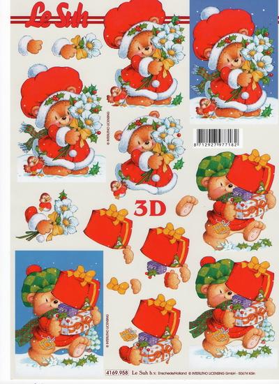 กระดาษ 3D สร้างลายนูน หมีน้อยในชุดแซนต้า กับช่อดอกไม้ กล่องของขวัญ มี 2 ภาพ ขนาด A4
