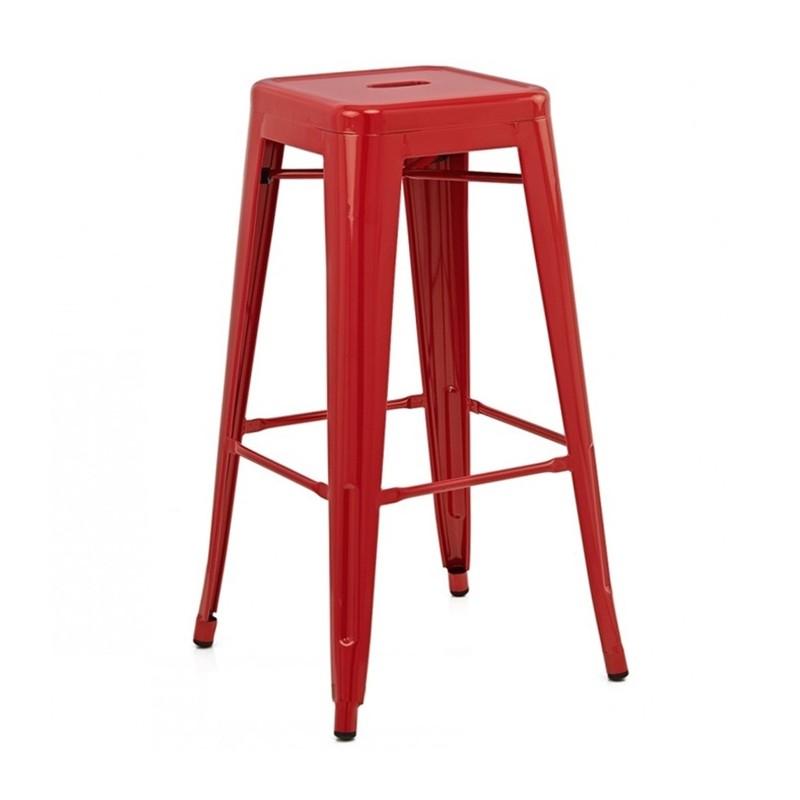 เก้าอี้สตูลเหล็กสูง สีแดง สำหรับแต่งร้านกาแฟ ร้านอาหาร