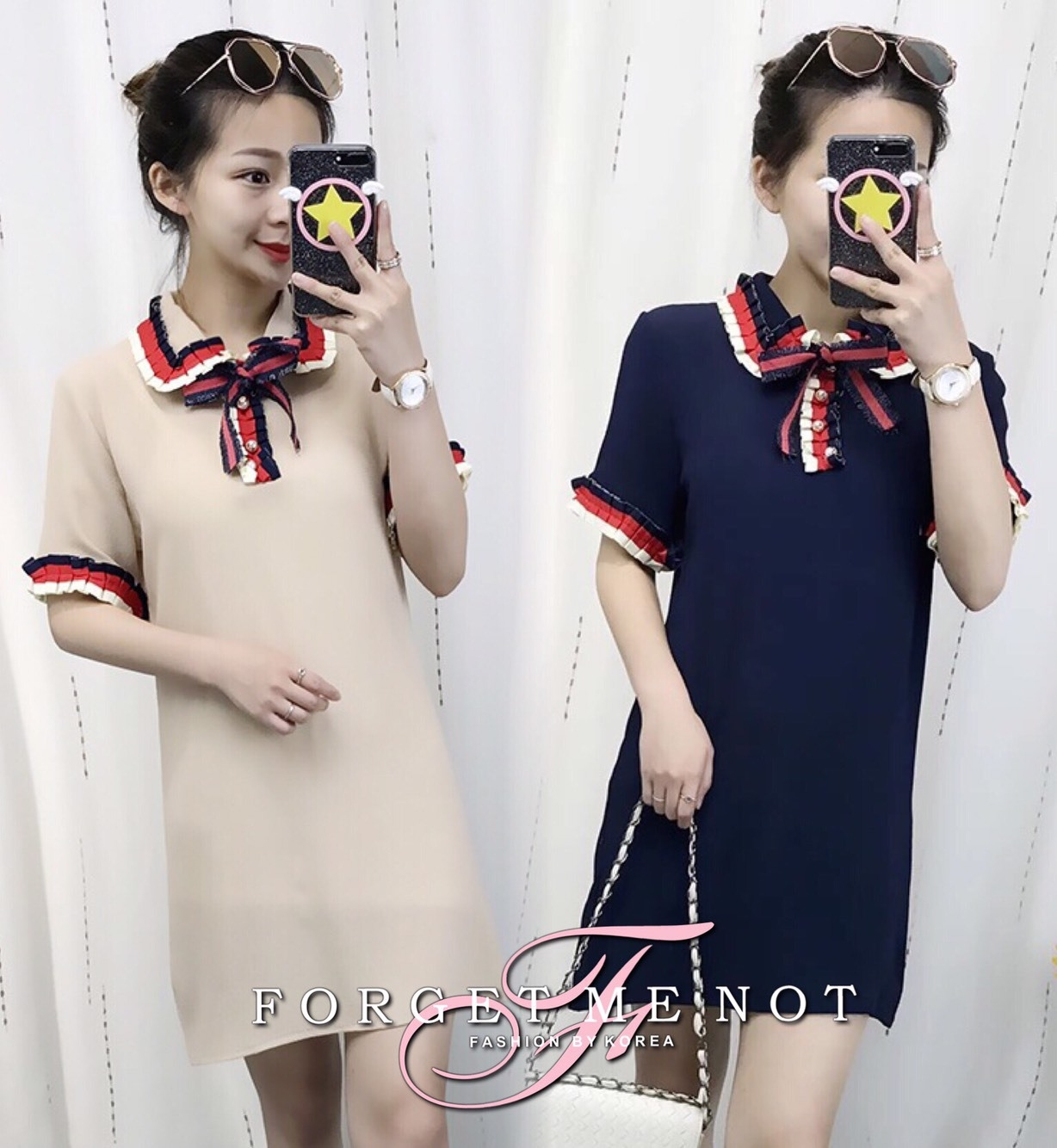 พร้อมส่ง Mini Dress คอปก แขนสั้น