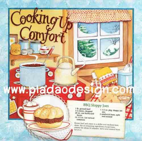 กระดาษสาพิมพ์ลาย สำหรับทำงาน เดคูพาจ Decoupage แนวภาำพ cooking up comfort เข้าครัวหรรษา ทำ BBQ sloppy (ปลาดาวดีไซน์)