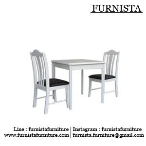 ชุดโต๊ะอาหารไม้ สีขาว ดีไซน์มีขอบ เบาะสามารถเลือกสีได้ (SW-COLLECTION)