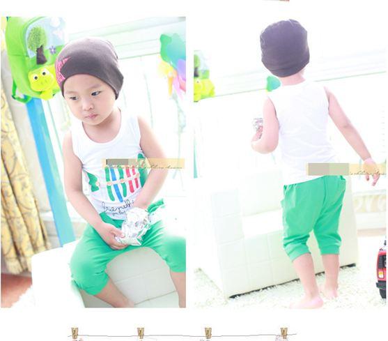 ชุดแฟชั่นเด็ก 2 ชิ้น เสื้อขาวลายก้างปลา กางเกงสีเขียวน่ารัก สไตล์เกาหลี(เด็ก 6 เดือน-3ขวบ ค่ะ