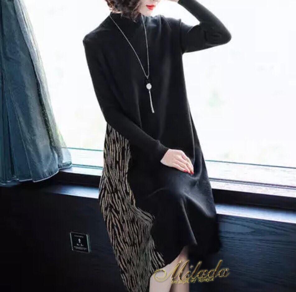 ชุดเดรสเกาหลี Dress คอปีน แขนยาว