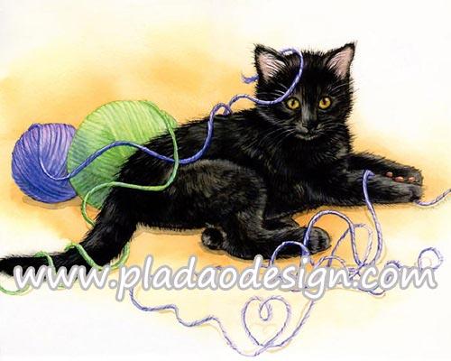 กระดาษสาพิมพ์ลาย สำหรับทำงาน เดคูพาจ Decoupage แนวภาำพ ลูกแมวน้อย ตัวดำๆ นอนเล่นไหมพรหของคุณหญิงแม่ เดี๋ยวจะโดนดี