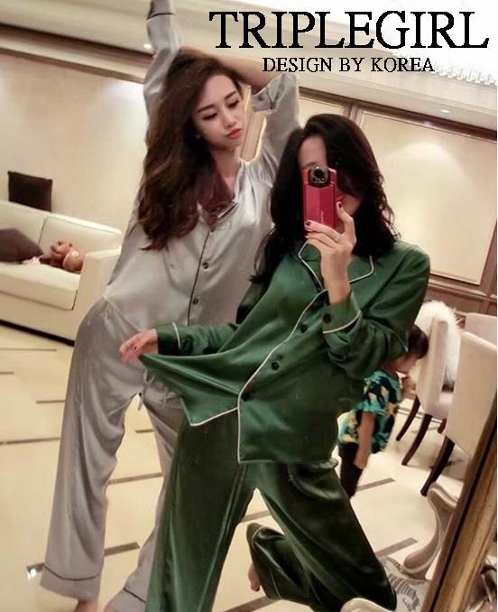 เสื้อผ้าเกาหลี พร้อมส่ง Set ชุดนอน ผ้าไหมแพร