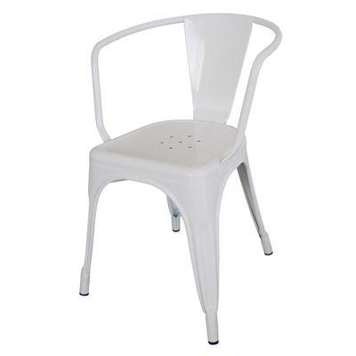 เก้าอี้เหล็ก สีขาว ดีไซน์ทันสมัย สำหรับแต่งร้านกาแฟ ร้านอาหาร