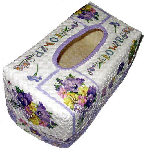 กล่องทิชชูใบลานแบบกล่อง ลายช่อดอกแพนซีสีม่วง