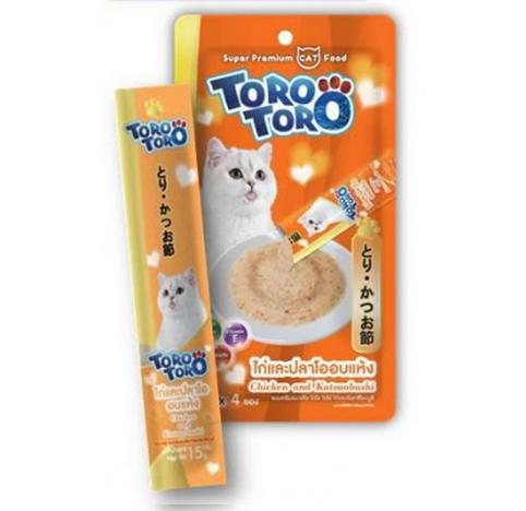 TORO แมวเลีย ไก่ปลาโอแห้ง 15gx4 ส้ม