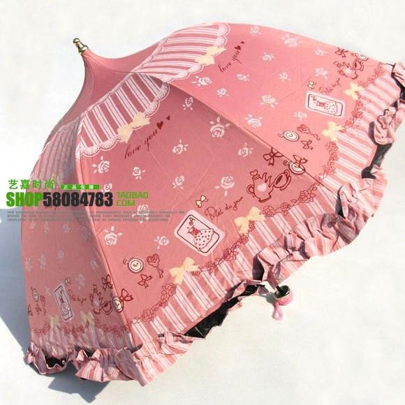 umbrella ร่มกันแดด ป้องกันรังสี UV ทรงเจดีย์ ลายการ์ตูนและลายหัวใจ น่ารักๆ (ตัวแทน 450บาท)