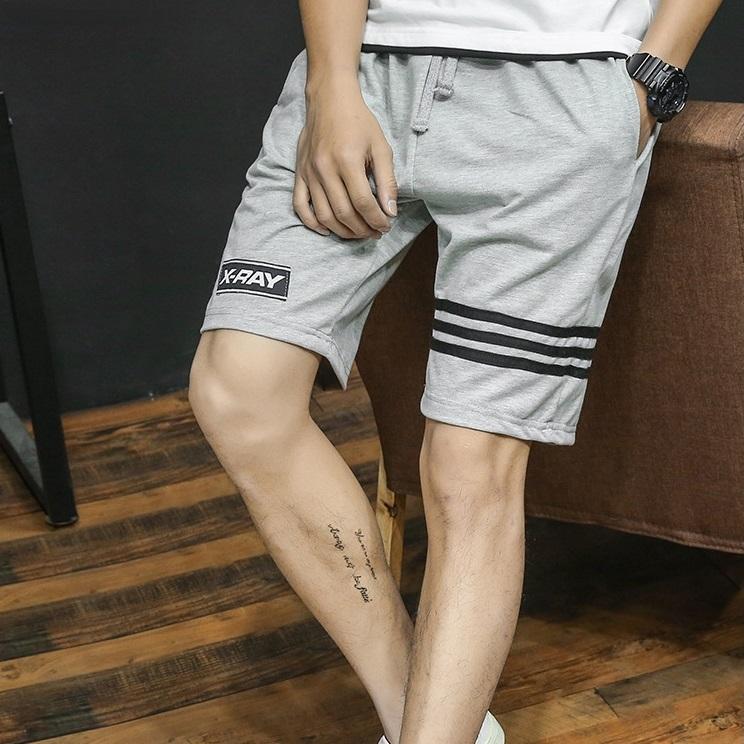 SP0039 กางเกงขาสั้นแฟชั่นเกาหลี สีเทา คาดดำ