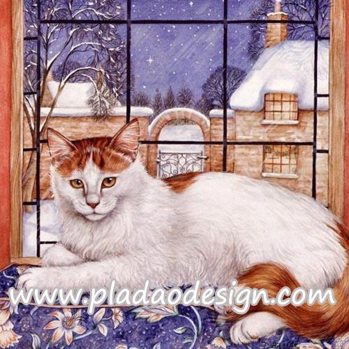 กระดาษสาพิมพ์ลาย สำหรับทำงาน เดคูพาจ Decoupage แนวภาพ แมวตัวขาว หัวกับหางสีน้ำตาล นอนบนพนักโซฟาริมหน้าต่าง