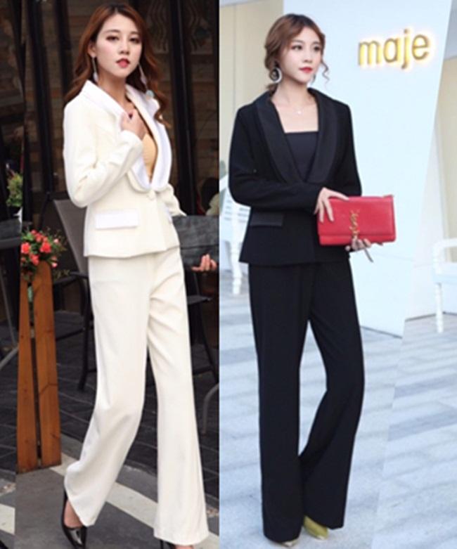 ชุดเซทแฟชั่น เซตเสื้อเบรเซอร์แขนยาวแต่งคอปกสองชั้น + กางเกงขายาวเอวสูงทรงขากระบอก