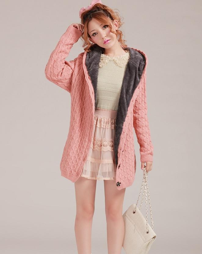 Pre-Order เสื้อกันหนาวไหมพรมผู้หญิง สีชมพู มีฮู๊ด ด้านในบุขนสัตว์สังเคราะห์ แฟชั่นเกาหลี