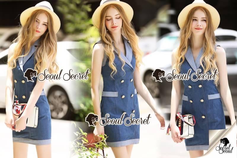 Seoul Secret Say's...Gene Suit Collar Gold Buttons Dress Material : เดรสยีนส์งานสวยดูเก๋ลุคผู้ดี ด้วยเดรสทรงปกคอสูท แต่งด้วยงานเย็บอย่างดี เนื้อผ้ายีนส์ยืดได้เล็กน้อย เดรสทรงเข้ารูป ใส่เเล้วดูสวยมากคะ มาพร้อมดีเทลกระดุมทองเก๋ๆดูไฮ ดีเทลงานเย
