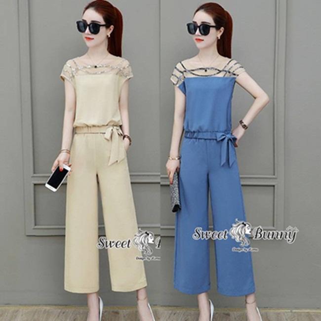 ชุดเซทแฟชั่น ชุดเซ็ทเสื้อ+กางเกงเกาหลี ผ้าสีพื้นเนื้อดีนุ่มมีน้ำหนัก