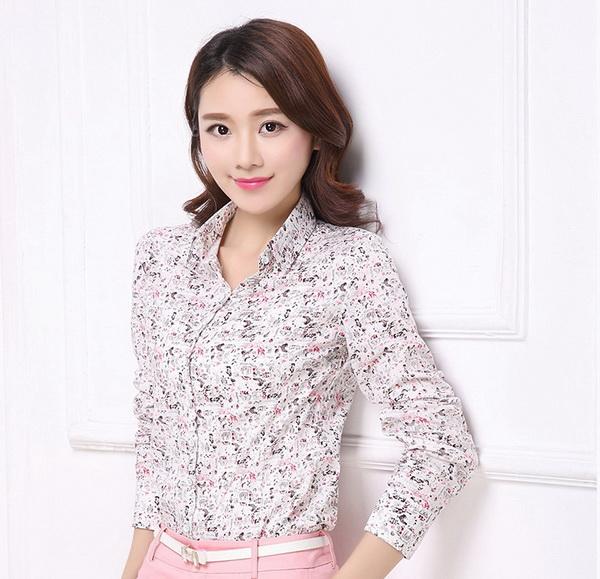 Pre-order เสื้อเชิ้ตผ้าฝ้าย แขนยาว เสื้อทำงาน พิมพ์ลายดอกไม้สีชมพู ดอกเล็ก ๆ น่ารัก แฟชั่นสไตล์เกาหลี