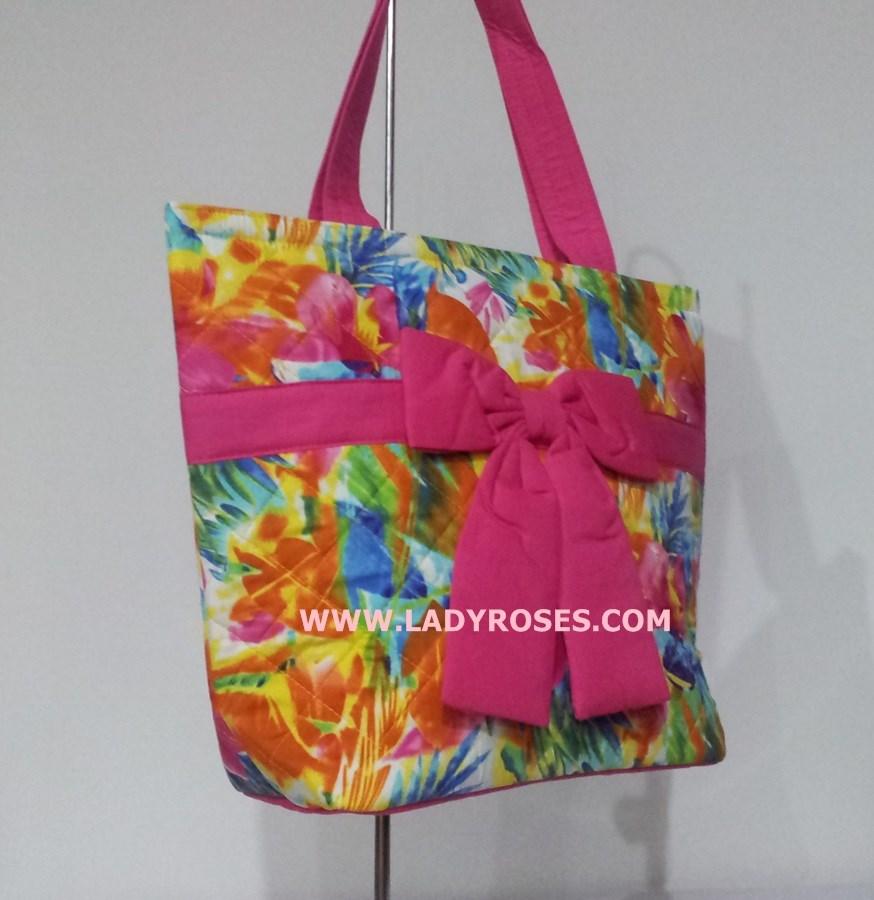 กระเป๋าสะพาย นารายา ผ้าคอตตอน ลายดอกชบา สีสดใส ผูกโบว์ (กระเป๋านารายา กระเป๋าผ้า NaRaYa กระเป๋าแฟชั่น)