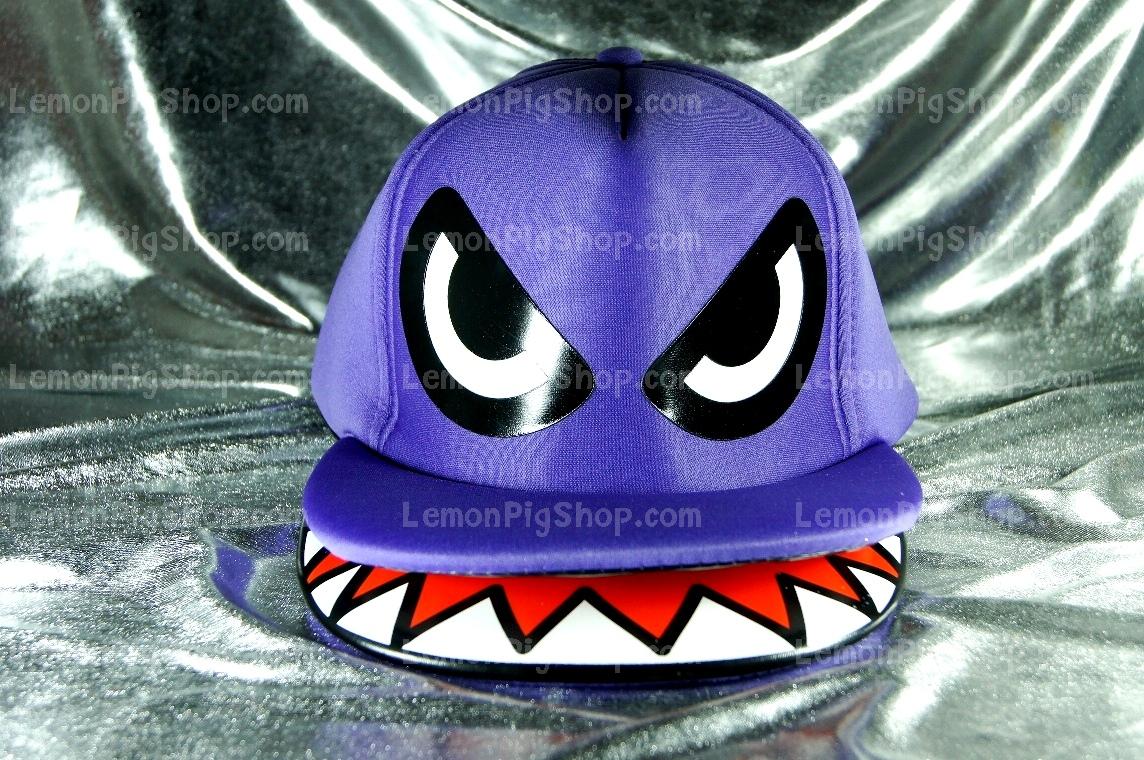 หมวกฉลาม ปากอ้า สีม่วง (2 ปีก) สุดเท่ห์