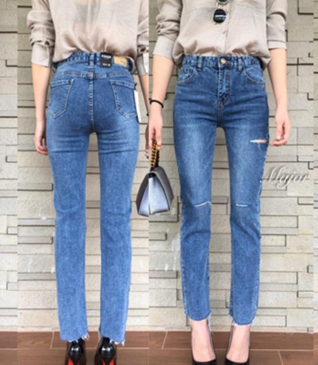 กางเกงแฟชั่น Korea denim jeans ทรงเป๊ะ ทรงสวยมาก ผ้าดียืดหยุ่นตามตัว