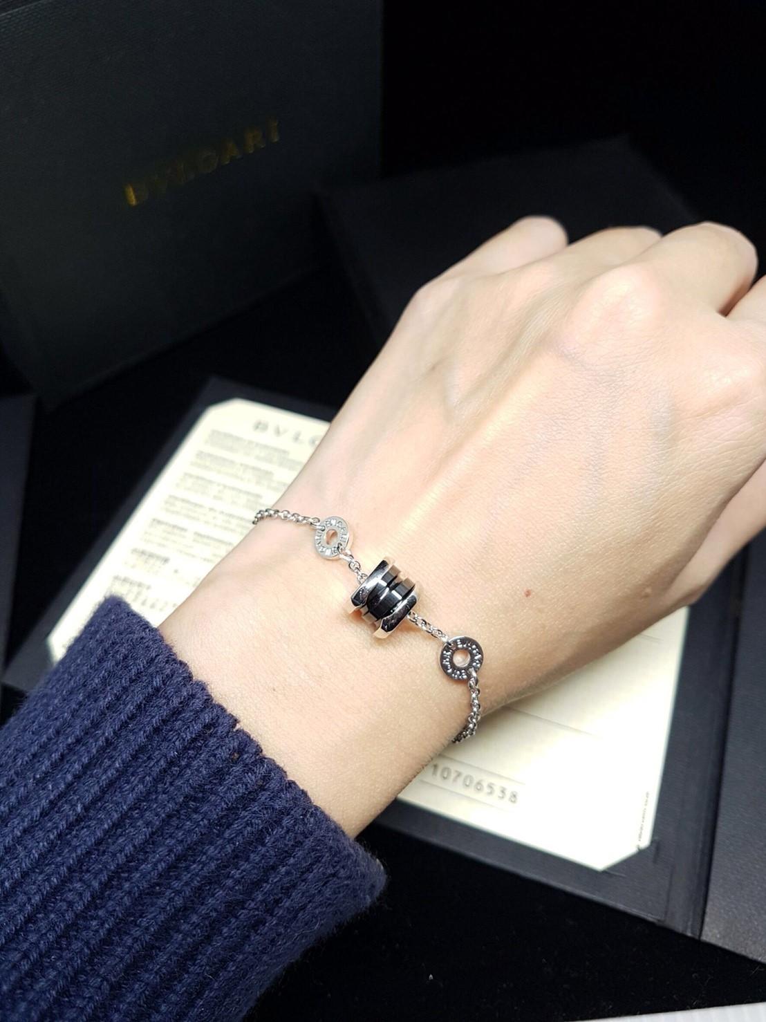 พร้อมส่ง ~ Diamond Bvlgari Bracelet ข้อมือ บูการี่ปลอกดำ เหมือนแท้ชนช๊อป งาน1:1