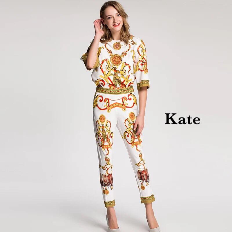 ชุดเซทแฟชั่น ชุดเซ็ต เสื้อ+กางเกง Hermers เสื้อปักเลื่อม แมทกับกางเกงเข้ารูปทรงผู้ดี
