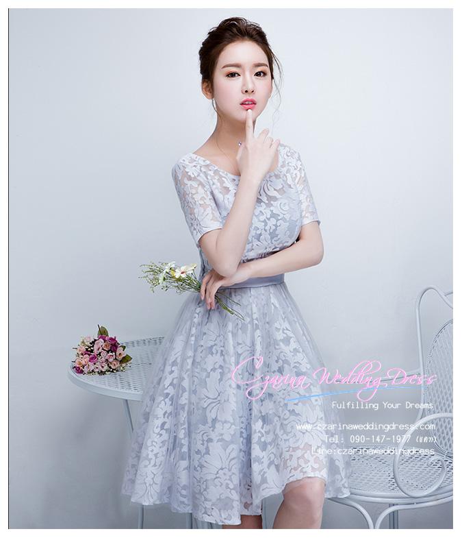 Z-0328 ชุดไปงานแต่งงานน่ารัก แนววินเทจหวานๆ สวย งามสง่า ราคาถูก สีเทา แขนยาว