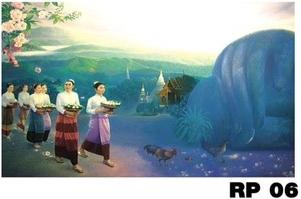 ภาพวาดแนวจริยศิลป์ล้านนา พิมพ์ลงผ้าใบ รหัสสินค้า RP - 06